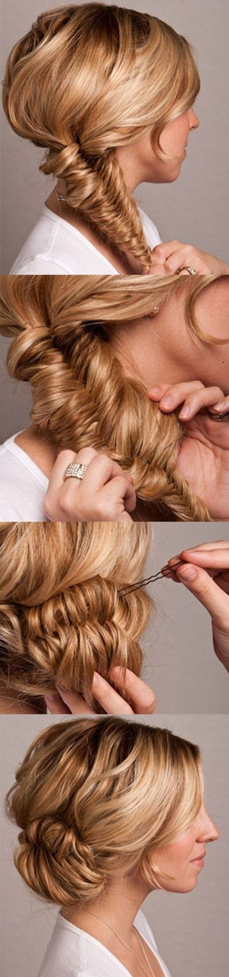 Fishtail bun wedding hair tutorial once wed fishtail bun wedding hair tutorial pin it 2 heres pmusecretfo Image collections