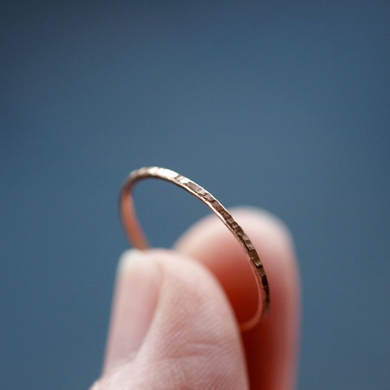 hammered gold slim ring