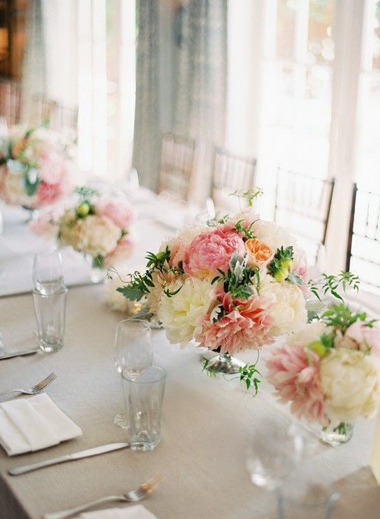 Flower Centerpiece Pink : Pink white flower centerpiece once wed
