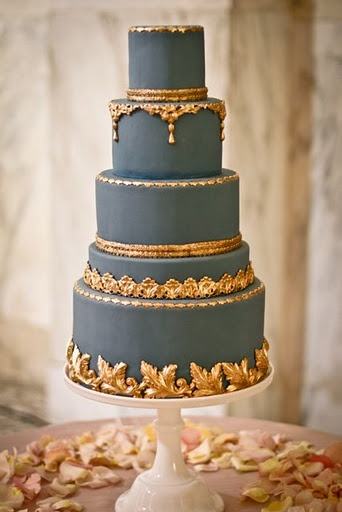 Regalnavygoldweddingcake Once Wed