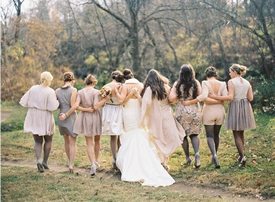 airplane hanger wedding bridesmaid dress