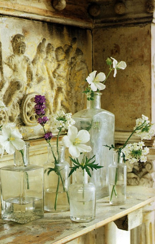 antique glass jar flower arrangement