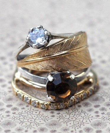 antique stacked rings