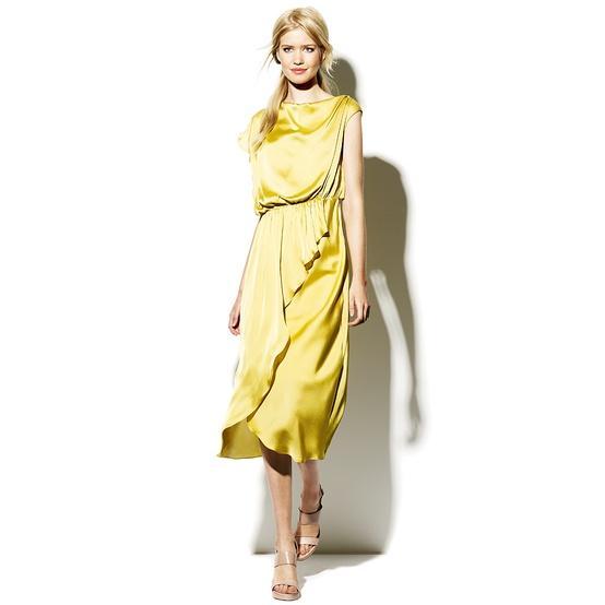 asymmetric draped dress yellow
