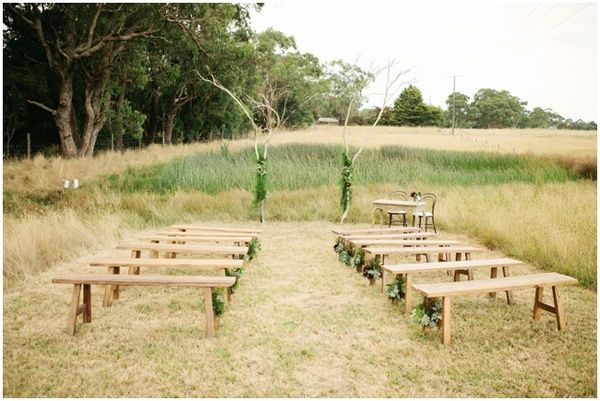bare bench wedding ceremony