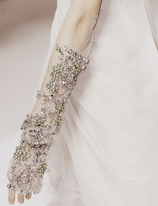beaded sheer gloves