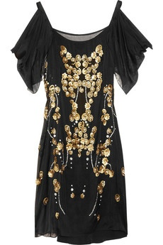 black gold short dress