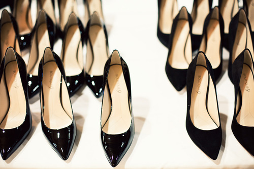 black shiny wedding heels