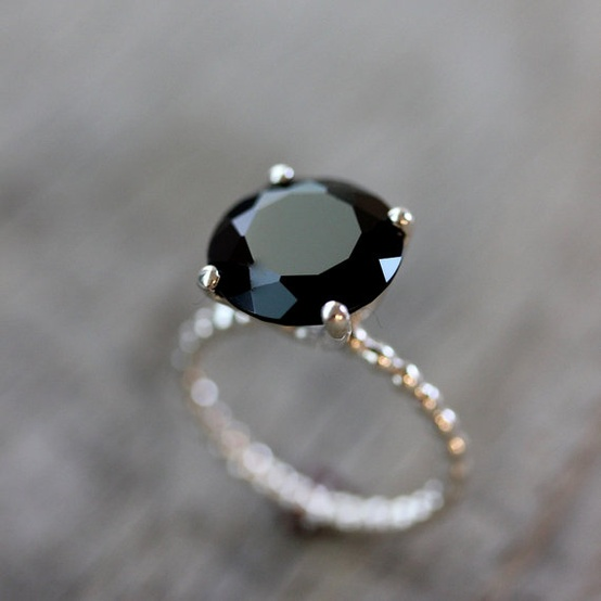 black spinel and sterling silver