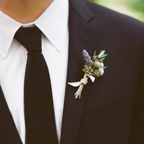 black tie purple boutonniere