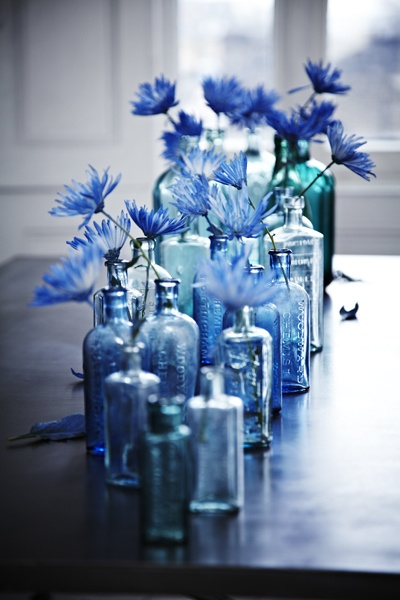 blue bottle flower wedding centerpiece