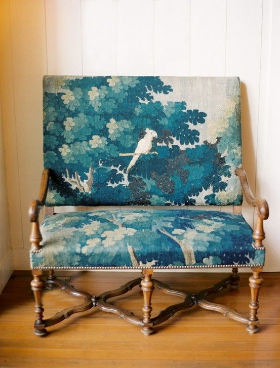 blue floral upholstered chair