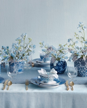 blue floral wedding reception tables
