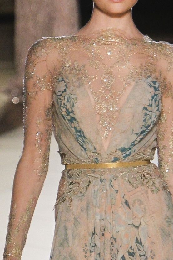 blue gold shimmer gown