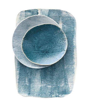 blue gray plate napkin