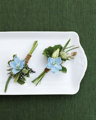 blue green boutonniere