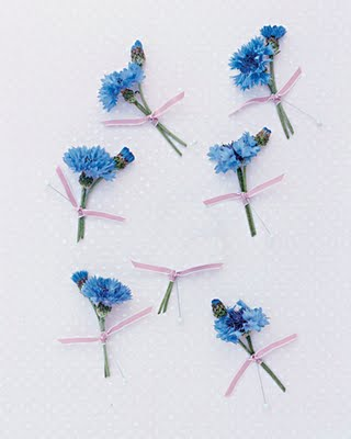 blue pink boutonniere