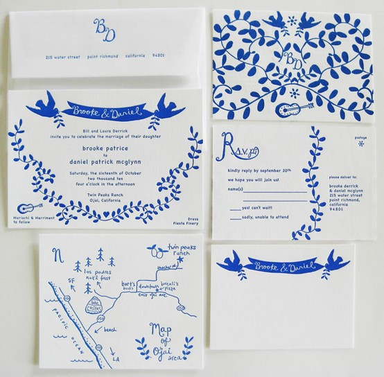blue white invitation suite
