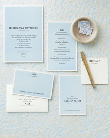blue white simple invitations