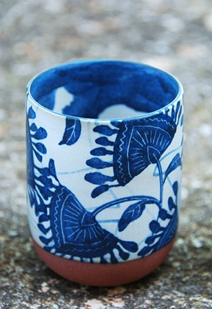 blue white stone cup