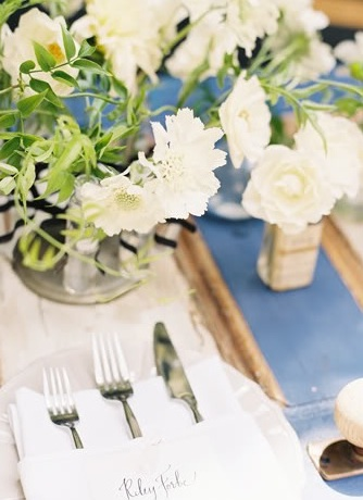 blue white weddings