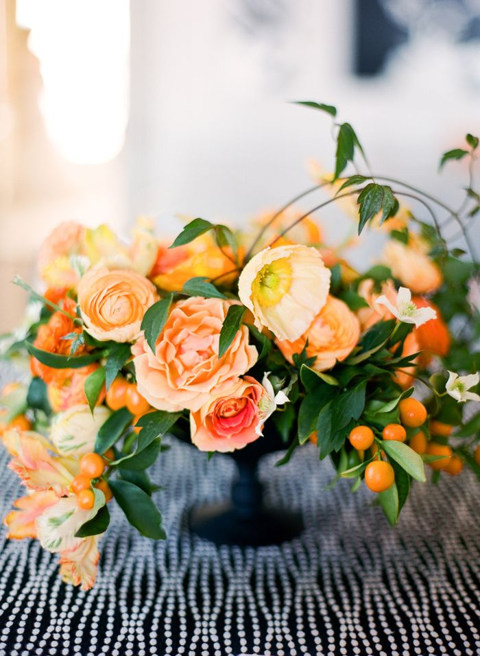 bold orange flowers wedding