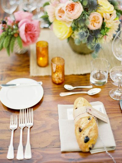 bread on a plate reception tables