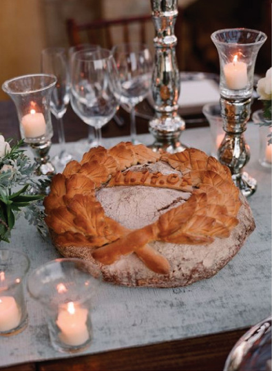 bread wreath reception tables