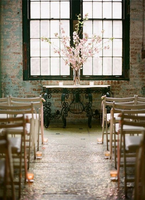brick indoor wedding ceremony