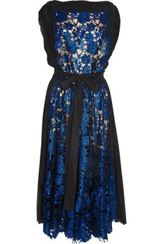 bright blue black dress