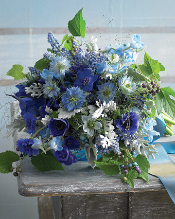 bright blue flower centerpiece
