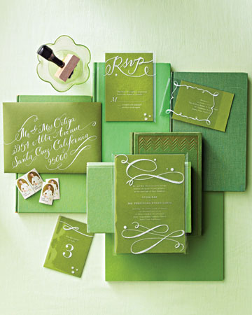 bright green modern invitation suite