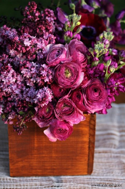 bright magenta wedding reception centerpieces