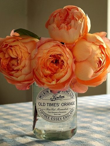 bright orange peony centerpiece