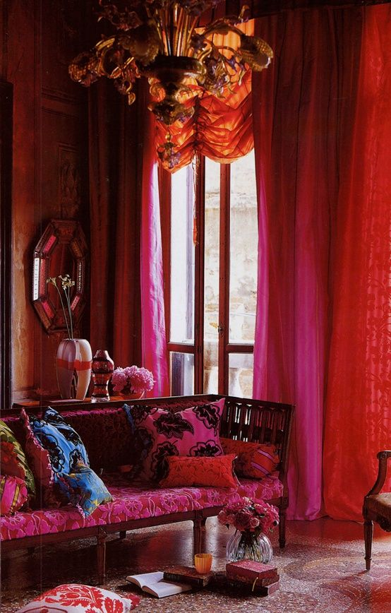 bright pink orange room