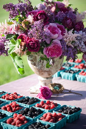 bright purple flower wedding centerpiece