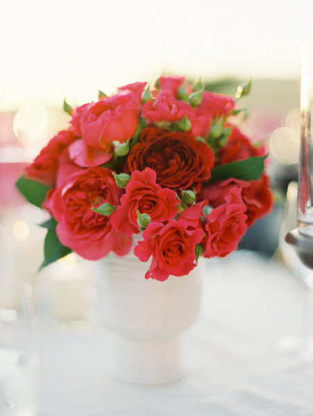 bright red flower centerpiece