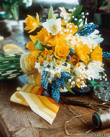 bright yellow blue bouquet