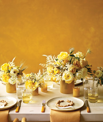 bright yellow reception tables