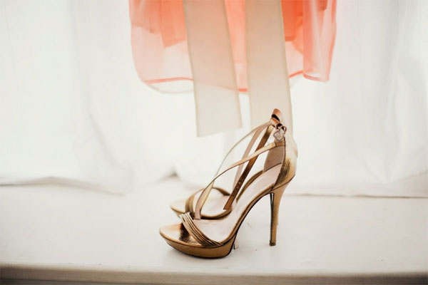 bronze wedding heels