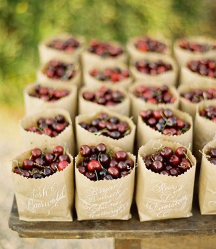 brown bag cherries wedding favors