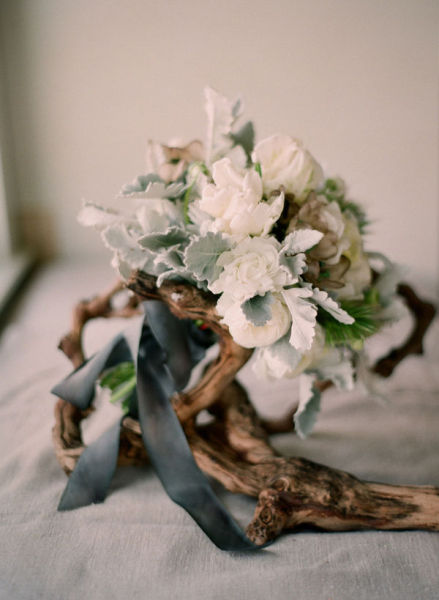 brown branch green white bouquet