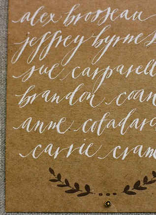 brown cream invitation calligraphy