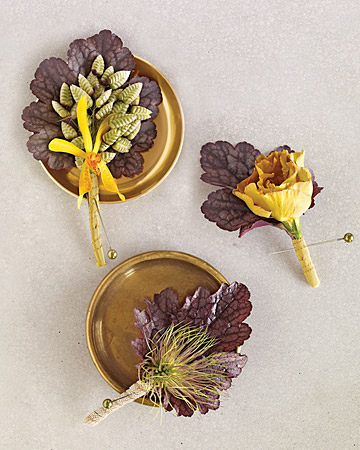 brown leaf boutonniere