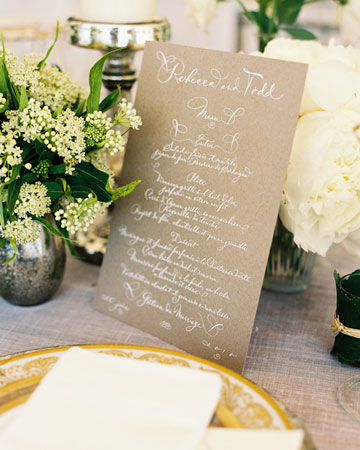 brown menu white calligraphy
