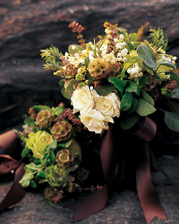 brown ribbon fall wedding bouquet