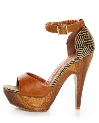 brown wood houndstooth heels