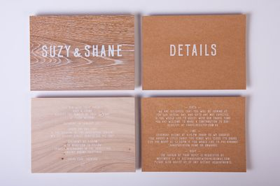 brown wood name cards