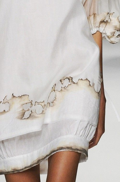 burnt detail white dress