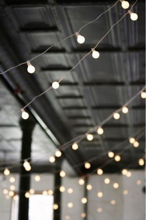 cafe lights wedding hanging